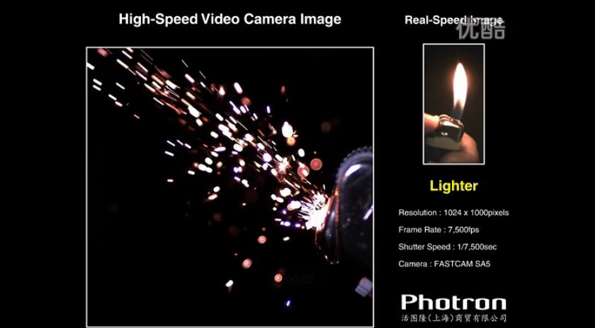 高速摄影机拍摄打火机点火瞬间